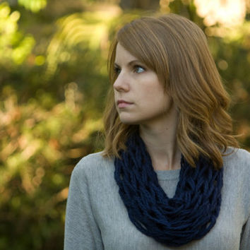 Knit Cowl, Navy Blue Spring Cowl, Knitted Statement Necklace