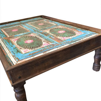Antique Indian Blue CHAKRA Coffee Table Hand Carved Furniture Vintage Table