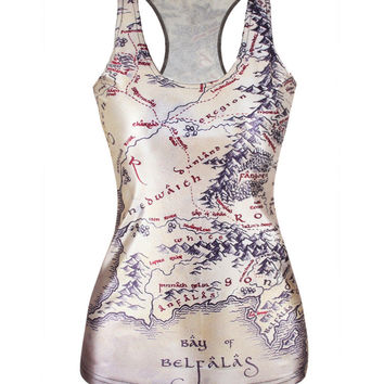 Bralette Summer Stylish Hot Beach Sexy Comfortable Innovative World Map Print Strong Character Slim Vest [6049150081]