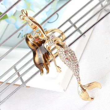 Mermaid Beauty Sea Girl Fish Pendant Charm Crystal Purse Bag Car Key Ring Chain Friend Girl Wedding Party Gift