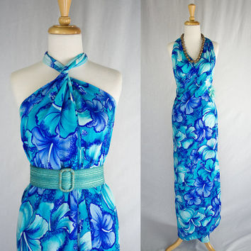 Vintage 1960's Cerulean Blue Hawaiian Pareo Wrap Dress S