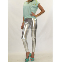 Silver Liquid Shiny Metal Hot Pants from Milly Kate