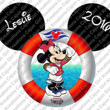 Minnie Mouse Disney Cruise Life Preserver Mickey Mouse Head Personalized with Name and Date Printable Iron On Transfer Clip Art Tshirts