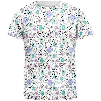 DCCKU3R Outer Space Aliens Pattern All Over Mens T Shirt
