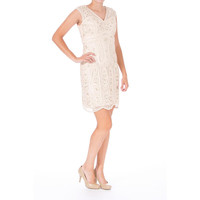 Sue Wong Womens Embellished Embroidered Cocktail Dress