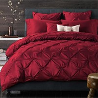 4/6pcs Handmade Pinch Pleat Red Imitated Silk Bedding Sets King Queen Solid Color Duvet/Quilt Cover Bedclothes Bed Sheet Cotton