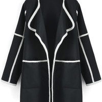 Black Long Sleeve Contrast Trims Coat