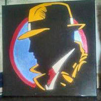 Black, Yellow, and Red Dick Tracy Painting