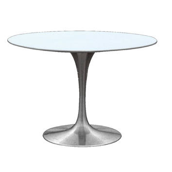 "Silver 30"" Dining Table White / Metal Fiberglass"