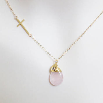 Rose quartz, Sideways, Cross, Gold, Silver, Necklace, Lovers, Best friends, Wedding, Gift, Accessories, Jewelry
