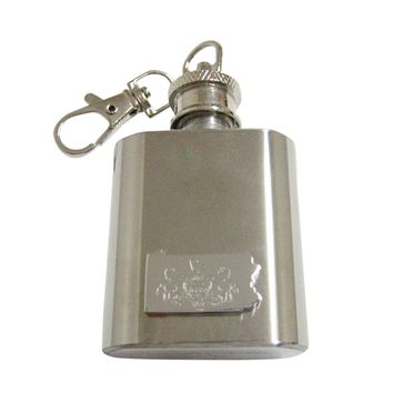 Pennsylvania State Map Shape and Flag Design 1 Oz. Stainless Steel Key Chain Flask