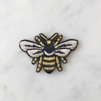 Tiny Bee Patch - Iron On Embroidered Patches - Metallic Gold