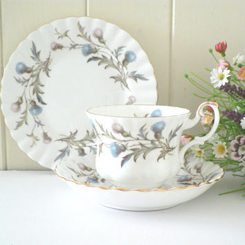 Royal Albert vintage1960's  tea trio, Brigadoon pattern, Blue Royal Albert, Blue teacup set