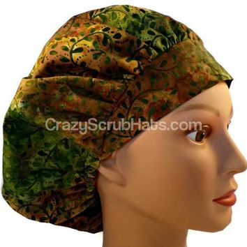 Women's Bouffant, Pixie, or Ponytail Surgical Scrub Hat Cap in Autumn Batik