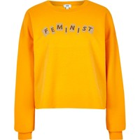Yellow 'feminist' cropped sweatshirt - Hoodies / Sweatshirts - Tops - women