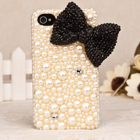 pearl black bow iphone 4 case iphone 4s by blingblingcellphone