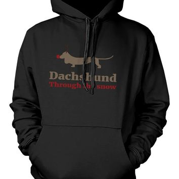 Dachshund through the Snow Funny Christmas Pullover Hoodie Holiday Sweater