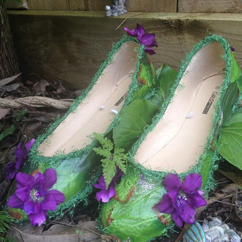 Flower Faery Nymph-ish FAERIE SHOES from Faeryland OOAK size 10 purple ladies ready-made!