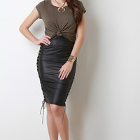 High Waist Vegan Leather Laced Midi Skirt