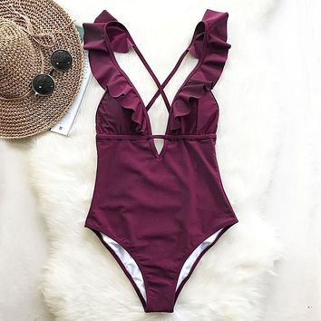 Burgundy One-piece  Ruffle V-neck Monokini  Bathing Suit Swimwear