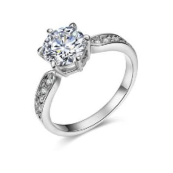 Round Ring Engagement Rings 6 Prongs Setting Cubic Zirconia Anel Jewelry For Women