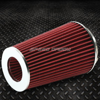 "3""/3.5""/4"" 10""H COLD/SHORT RAM INTAKE HIGH FLOW DRY RED AIR FILTER+REDUCER HOSES"