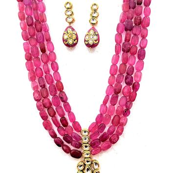 Pink stone multi stranded kundan Necklace and Earring set