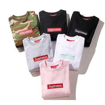 "Camo ""Supreme"" Couple Casual Letter Print Velvet Long Sleeve Pullover Sweatshirt Top Sweater"