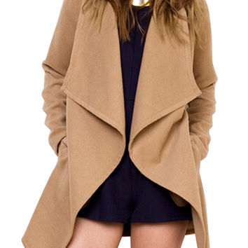 Camel Lapel Long Sleeve Coat