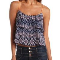Strappy Layered Printed Chiffon Tank Top - Blue Combo