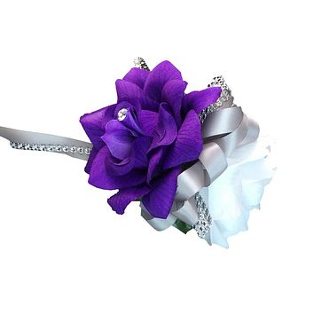 Wrist Corsage - Purple and White Open Rose: Choose Ribbon Color Below