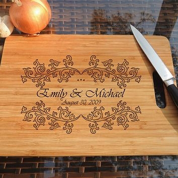 ikb484 Personalized Cutting Board Wood wedding gift anniversary date names wooden wedding