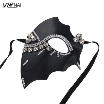 Retro Steampunk Crystal Eye Mask Lolita Half Face Rivet Masks Gothic Cosplay Props Accessories