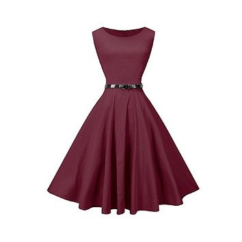 Tea Length Cocktail Dress, Red Wine, US Size 4 - 26