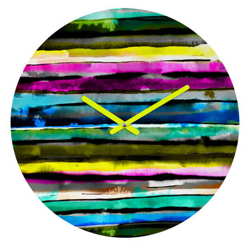 CayenaBlanca Watercolour Stripes Round Clock