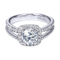 14K White Gold 1.55cttw Split-Shank French Pave Set Round Diamond Engagement Ring with Cushion Shaped Halo