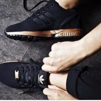 DCCKIJG ADIDAS ZX Flux Women Running Sport Casual Shoes Sneakers Black golden