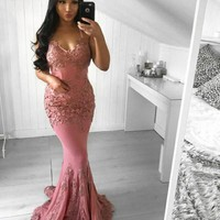 Evening Dresses Dark Pink Straps Appliques Prom Dress