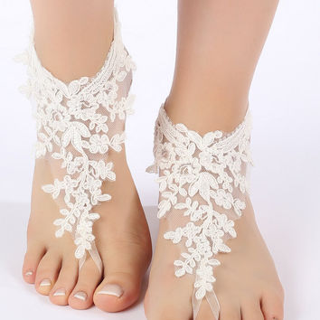 Free Ship ivory, flexible ankle sandals,  laceBarefoot Sandals, french lace, Beach wedding barefoot sandals