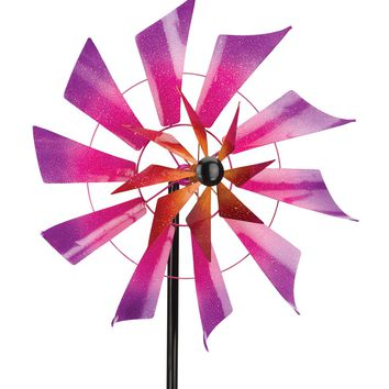 Blades of Color Double Rotating Metal Kinetic Garden Stake Wind Spinner