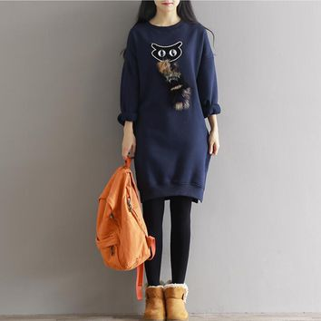 Winter Coats 2017 Casual Autumn Women Long Hoodies Sweatshirts Loose Coat Fashion Beading Fox Plush Pullovers Dress Plus Size