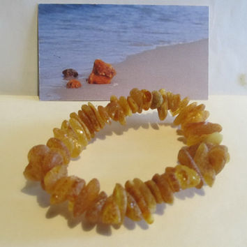 100% Baltic Natural Amber Bracelet raw stones beads unpolished opaque medical 14.0 gr, brown, no metal elastic band all ages unisex