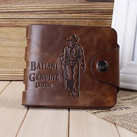 Vintage Mens Leather Card Holder Bifold Wallet