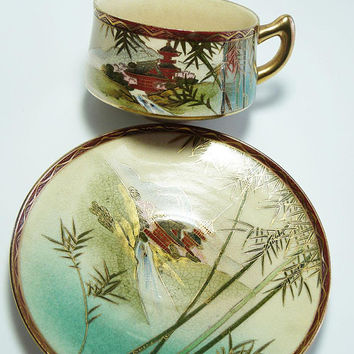 Early CPO Occupied Japan Porcelain Tea Cup & Saucer Set Entirely Hand Painted Fuji Mountain Temple View Japan