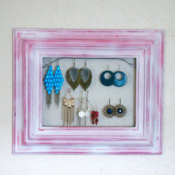 Revamped and Repurposed Dashing watermelon pink and crackle white Jewelry Frame display/ Earring organizer