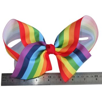 8 Inch Extra Large Rainbow hair bow Hair clips Teen Girl hair ribbon bows Boutique Big bows Sweet Girl Hair Accessories Headwear