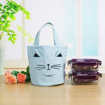 Women Canvas Print Cute Cat Bucket Storage Bag