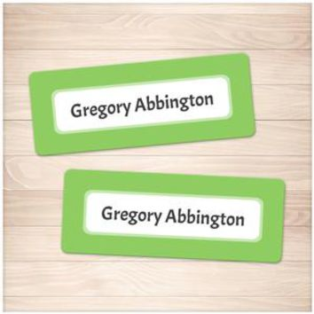 Green Border Name Labels for School Supplies - Printable