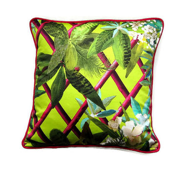 Designers Guild Christian Lacroix Canopy neon citrus green, pink, tropical leaves digital printed cotton cushion, throw pillow, home decor.