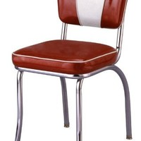 "Budget Bar Stools 4220ZBU 1950's Retro Chrome Diner Chair, Carbon Steel, 18"" L x 16"" W x 32"" H, Red"